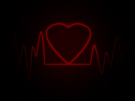 heart monitor: Heart monitor screen withe red heart shape Stock Photo