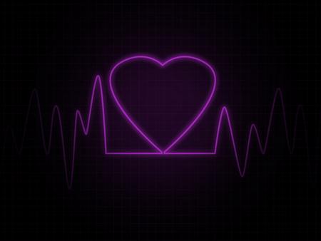 heart monitor: Heart monitor screen with pink heart shape