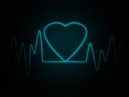 heart monitor: Heart monitor screen with blue heart shape
