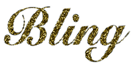 The word Bling made of golden shiny gold Jewelry Banco de Imagens