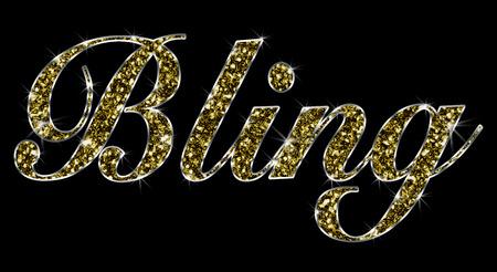 La parola Bling realizzato in oro gioielli in oro lucido con sfondo nero Archivio Fotografico - 49920069