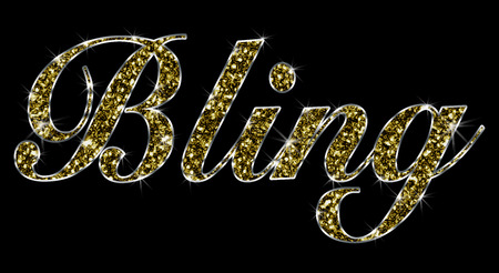 The word Bling made of golden shiny gold Jewelry with black background