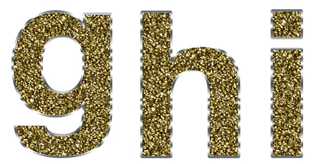 h: Lowercase ghi letters made of gold and silver frame Stock Photo
