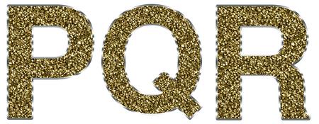 lettre alphabet: Lettres de PQR de la capitale en cadre or et d'argent
