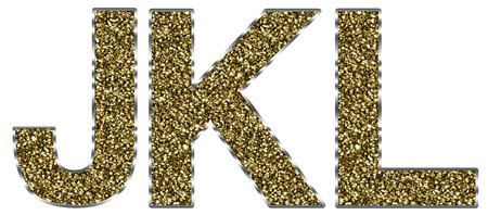 letter l: Capital JKL letters made of gold and silver frame