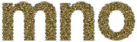 lettre alphabet: lettres mno Minuscules en cadre d'or et d'argent Banque d'images