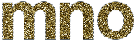 letter x: Lowercase mno letters made of gold and silver frame Stock Photo