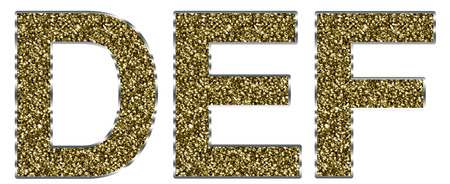 def: Capital DEF letters made of gold and silver frame