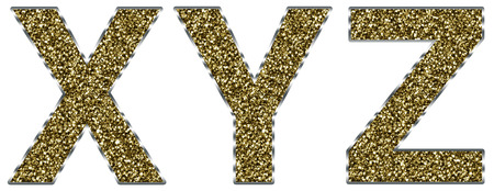 Capital XYZ letters made of gold and silver frame Stock Photo