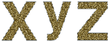 xyz: Lowercase xyz letters made of gold and silver frame