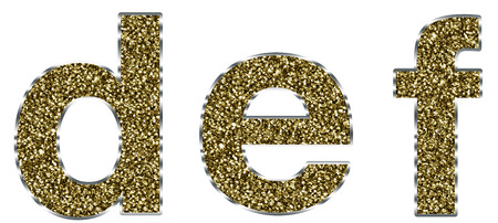def: Lowercase def letters made of gold and silver frame