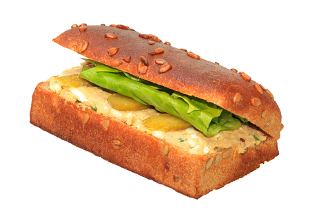 sandwich spread: Healthy sandwich with Tuna spread, pickles and lettuce