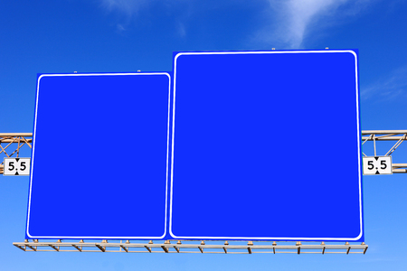 highway signs: Blue highway signs with blue sky in the background Stock Photo