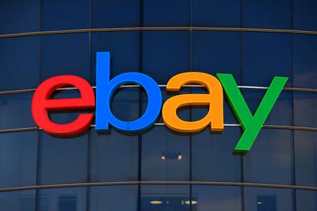 Ebay のロゴ、ebay はアメリカ多国籍企業と電子商取引の会社