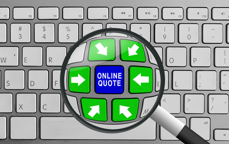 Computer keyboard with green and blue online quote and magnifying glass Banco de Imagens - 54113081