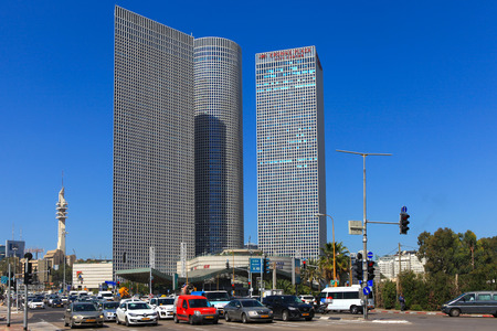 Tel Avivs Hashalom central junction with traffic and the 3 Azrieli buildings, a known landmark in central Tel Aviv