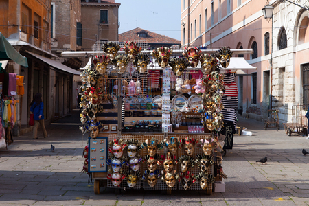 traditional goods: Typical souvenir stand in Piazza San Marco, offering a wide variety of traditional Venetian symbolic goods