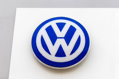 dealerships: Volkswagen emblem at one of Volkswagens auto dealerships
