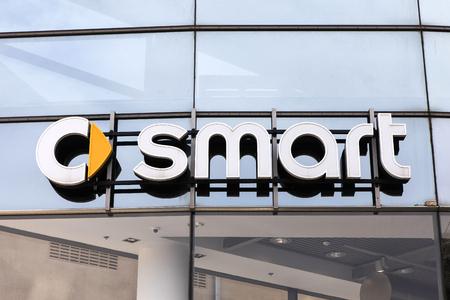 dealerships: Smart emblem at one of Smarts auto dealerships