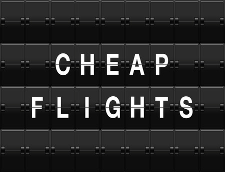 cheap: Airport split-flap board with cheap flights text Stock Photo