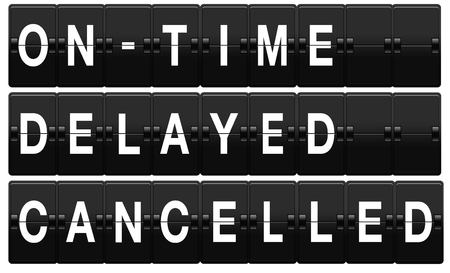 cancelled: Airport split-flap board with on time, delayed and cancelled text