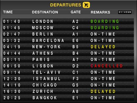 departures: Airport split-flap board with departures flight list Stock Photo
