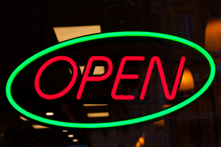 neon sign: Red and green neon Open sign