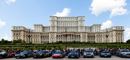 lamborghini: Super cars of the exclusive Gumboil 3000 parked in front of the Romanian Parliament. Gumball is an international celebrity rally which takes place on public roads.