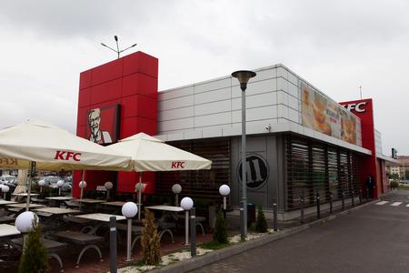 KFC sign, Kentucky Fried Chicken (KFC) is a fast food restaurant chain Editorial