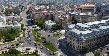 bucuresti: Aerial view of Central Bucharest street, with traffic passing by at Victory avenue, the main road of bucharest. Editorial