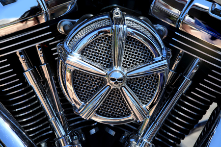 twin engine: Chrome coated V-Twin engine Stock Photo