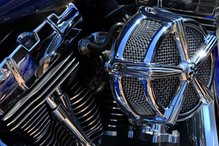 Chrome coated V-Twin engine Stock Photo