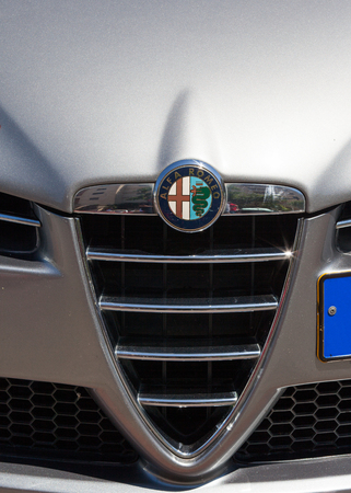 romeo: Alpha Romeo car front - Grill and emblem Editorial