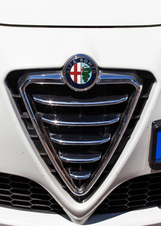 car grill: Alpha Romeo car front - Grill and emblem Editorial