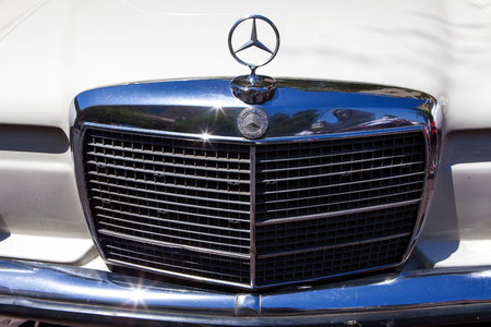 mercedes: Vintage Mercedes front grill with emblem Editorial