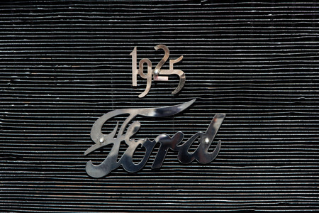 Original 1925 Ford model T front grill with 1925 and Ford emblem Editorial