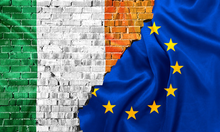 Ireland and European union flags combined Stock Photo