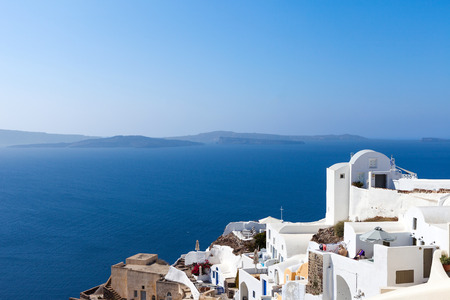 White houses and blue domes of Oia, Santorini. Stock Photo