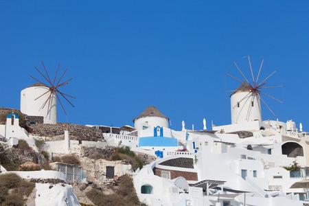 White houses and blue domes of Oia, Santorini. Stock Photo