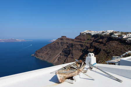 domes: White houses and blue domes of Fira, Santorini.