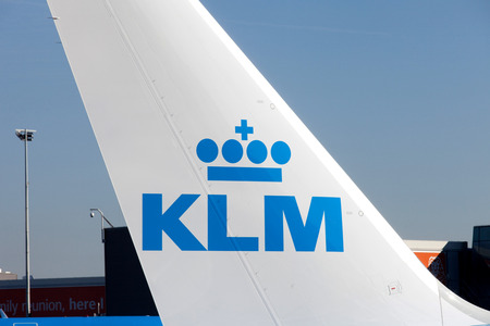 schiphol: KLM Boeing 747 parked at Amsterdams Schiphol airport, KLMs home airport. Editorial