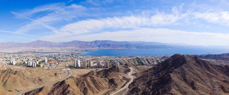 jewish town: Eilat, Israel - Aerial image, revealing Eilats skyline and the red sea