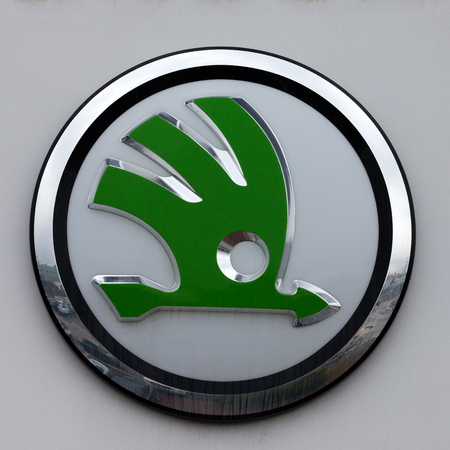 Skoda emblem at one of Skodas auto dealerships, Skoda became a wholly owned subsidiary of the Volkswagen Group in 2000