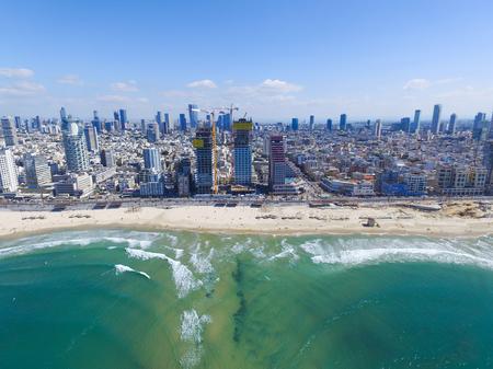 Tel Aviv Coastline, Over the mediterranean sea - Aerial image Stock fotó