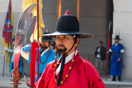 Royal guards in traditional clothing, during the opening and Closing of the Royal Palace Gates and Royal Guard Changing Ceremony.