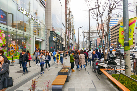 Locals and tourists at Seouls famous Gangnam districs, known as a high end shopping location. Editorial