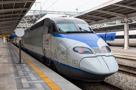 Korea train express KTA bullet train at Seoul's Dongdaegu train station.