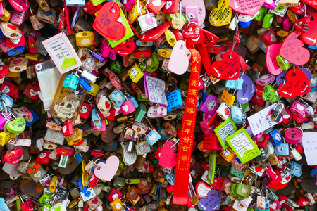 Colorful love padlocks