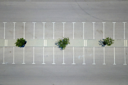 Empty parking lot - Top down aerial view Stock Photo