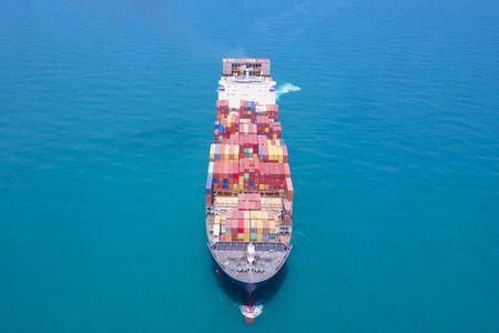 Large container ship at sea - Aerial image Banco de Imagens